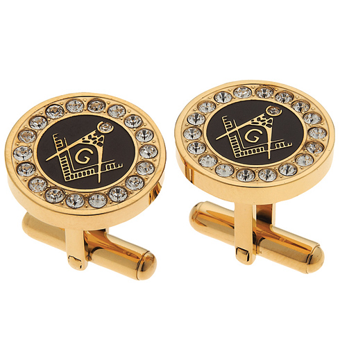 14kt Gold-plated Masonic Cufflinks with Cubic Zirconias