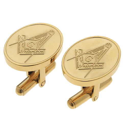 14kt Gold Plated Oval Masonic Cufflinks