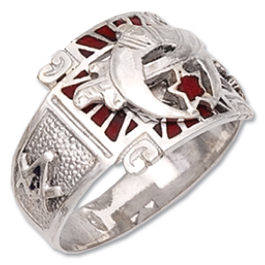 Sterling Silver Shriner Ring with Red Enamel