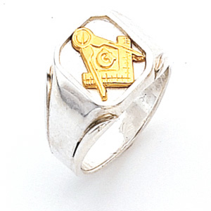 Two Tone Blue Lodge Ring - Sterling Silver