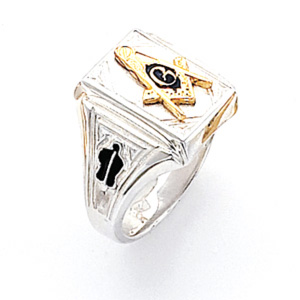 Rectangular Blue Lodge Ring - Sterling Silver
