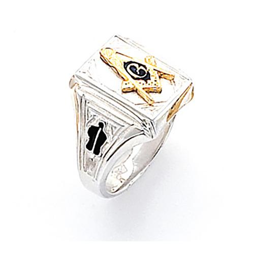 Rectangular Blue Lodge Ring - Sterling Silver