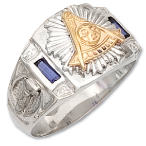 Sterling Silver Past Master Mason Ring with Simulated Sapphires