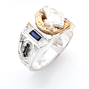Sterling Silver Two Tone Masonic Ring with Simulated Sapphires