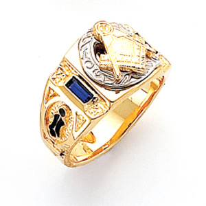 Vermeil Two Tone Masonic Ring with Simulated Sapphires