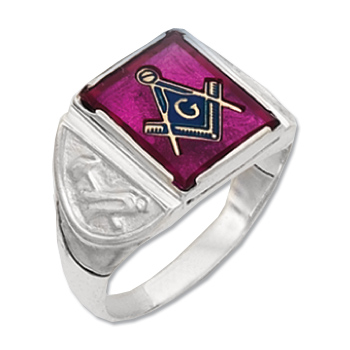 Sterling Silver Masonic Square Stone Ring