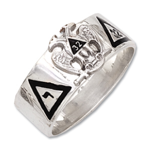 Sterling Silver 8mm Scottish Rite 32nd Degree Ring