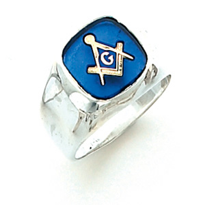 Sterling Silver Oblong Masonic Ring with Smooth Wide Sides