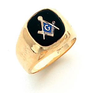 Vermeil Oblong Masonic Ring with Smooth Wide Sides