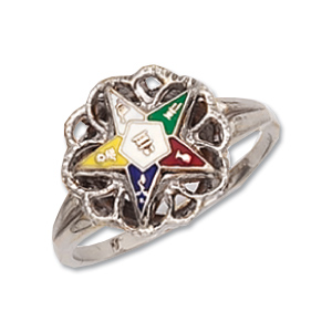 Sterling Silver Floral Eastern Star Ring
