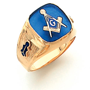 Vermeil Blue Lodge Ring with Oblong Stone