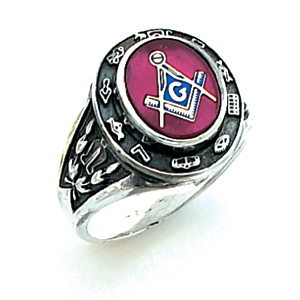 Sterling Silver Cipher Blue Lodge Ring