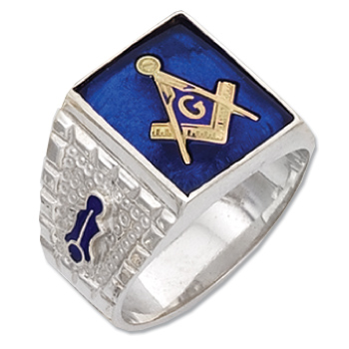 Sterling Silver Masonic Squarish Stone Blue Lodge Ring