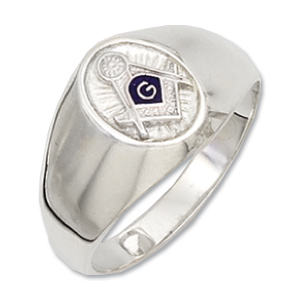 Sterling Silver Masonic Oval Blue Lodge Ring