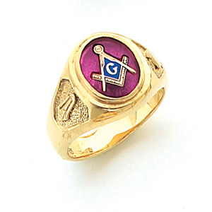 Vermeil Masonic Ring with Oval Stone