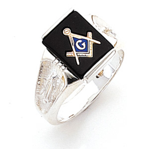 Sterling Silver Rectangular Masonic Ring with Scooped Sides