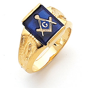 Vermeil Rectangular Masonic Ring with Scooped Sides