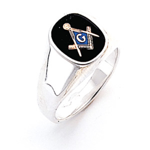 Sterling Silver Oblong Blue Lodge Ring