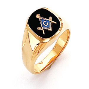 Vermeil Oblong Blue Lodge Ring with Smooth Shank