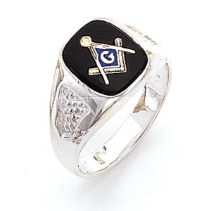 Sterling Silver Masonic Ring with Cross Stitch Texture
