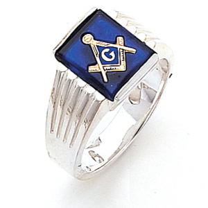 Sterling Silver Blue Lodge Ring with Ribbed Sides
