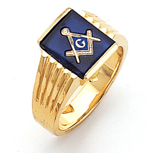 Vermeil Blue Lodge Ring with Ribbed Sides