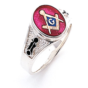 Sterling Silver Oval Masonic Ring with Tapered Pebble Grain Sides