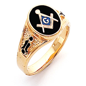 Vermeil Oval Masonic Ring with Tapered Pebble Grain Sides
