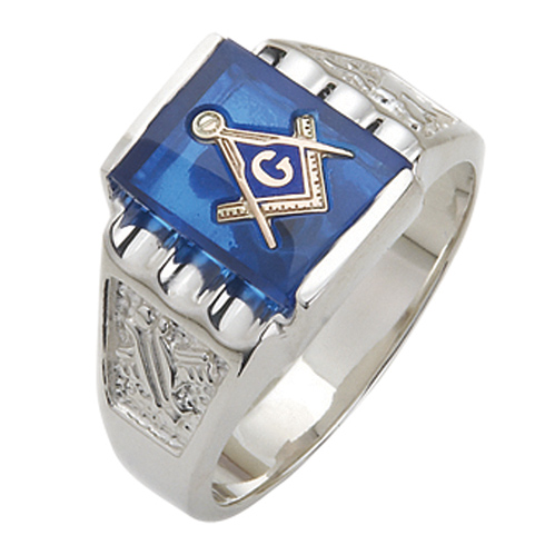 Sterling Silver Masonic Ring with Grooved Top