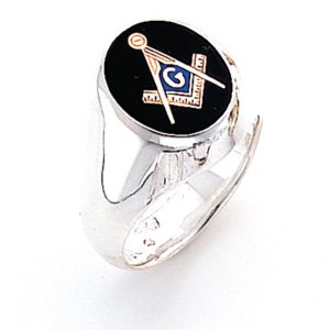 Sterling Silver Oval Masonic Ring with Smooth Sides