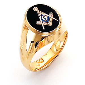 Vermeil Oval Masonic Ring with Smooth Sides
