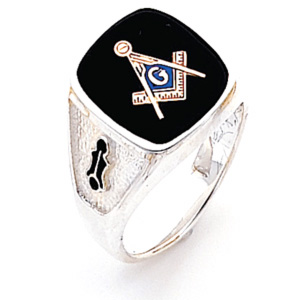 Sterling Silver Large Oblong Blue Lodge Ring