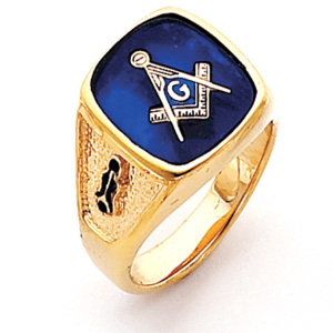 Vermeil Large Oblong Blue Lodge Ring