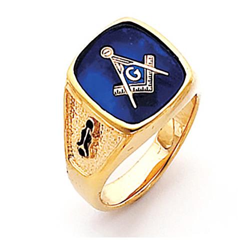 Vermeil Large Oblong Blue Lodge Ring