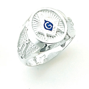 10kt White Gold Oval Blue Lodge Ring