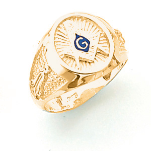 Vermeil Oval Masonic Starburst Ring