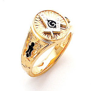 Vermeil Round Masonic Ring with Blue Enamel