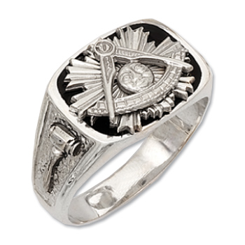 Sterling Silver Masonic Past Master Black Onyx Ring