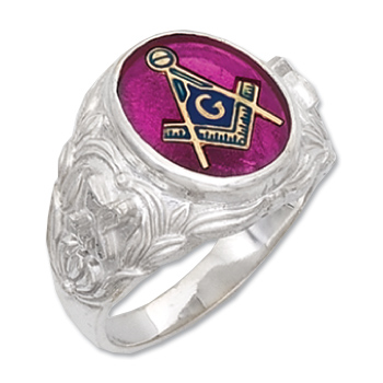 Sterling Silver Masonic Oval Stone Ring with Wreath Design