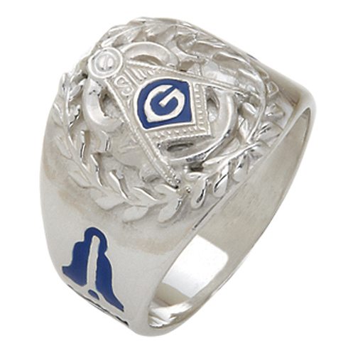 Sterling Silver Masonic Ring with Wreath