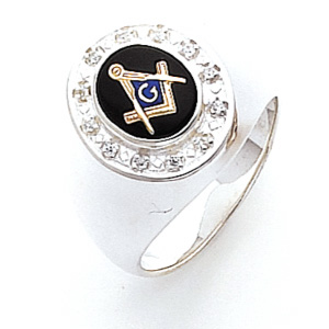 Sterling Silver Masonic Ring with Cubic Zirconia Bezel