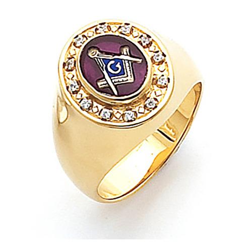 Vermeil Masonic Ring with Cubic Zirconia Bezel
