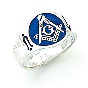 10kt White Gold Oval Blue Lodge Enamel Ring