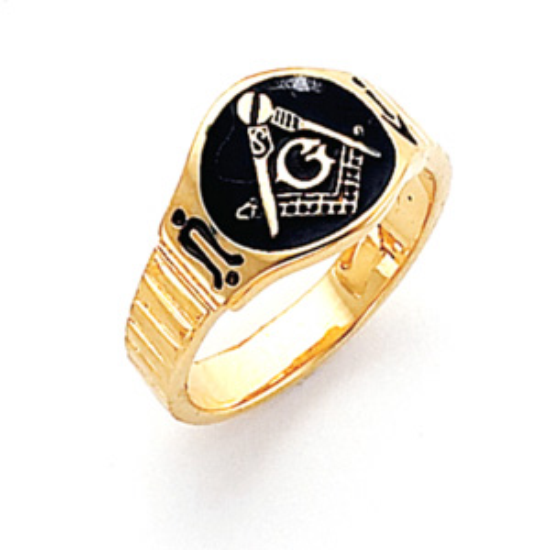 Vermeil Round Blue Lodge Masonic Ring