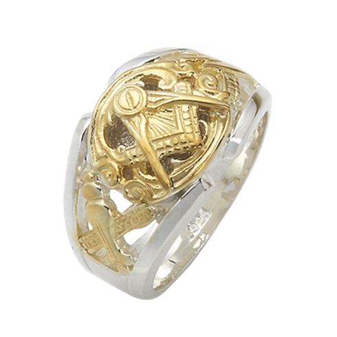 Sterling Silver and Gold Masonic Cut Out Ring