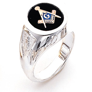 Sterling Silver Round Blue Lodge Ring