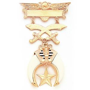 Vermeil 4 3/8in Masonic Shrine Jewel