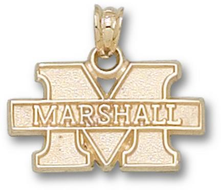 10kt Yellow Gold 7/16in Marshall University New M Pendant