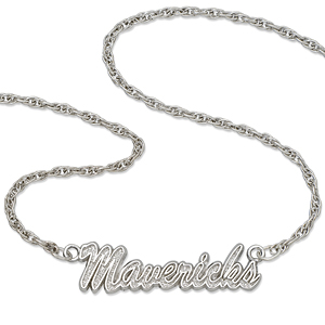 Sterling Silver 18in Dallas Mavericks Script Necklace