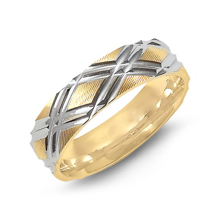 14kt Two-tone Gold 6mm Wedding Band with Cross Cut Pattern